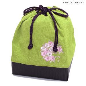 刺繍巾着「抹茶色 桜の輪刺繍」刺繍 ちりめん巾着 袴巾着