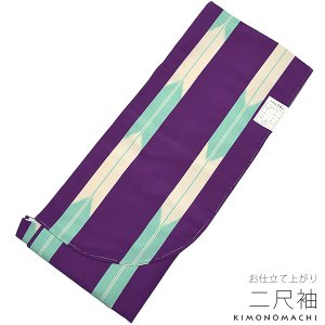 二尺袖単品「紫色×アイスグリーン 矢絣」