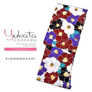 浴衣 レディース 浴衣単品「黒×紫×エンジ 椿」 綿浴衣 お仕立て上がり浴衣ss2103ykl10|kimonomachi