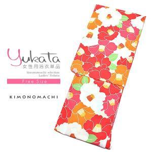 浴衣 レディース 浴衣単品「赤×オレンジ 椿」 綿浴衣 お仕立て上がり浴衣|kimonomachi