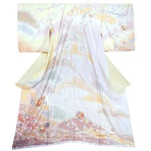 未仕立て 訪問着単品「クリーム 加賀 花のしめ」 未仕立て 仮絵羽 正絹着物 礼装 kimonomachi