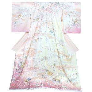 未仕立て 訪問着単品「ピンク 加賀 雪輪しだれ桜」 未仕立て 仮絵羽 正絹着物 礼装 kimonomachi