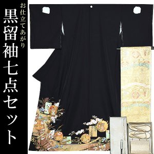 お仕立て上がり 黒留袖セット「色紙、雪輪に御所車」 紋入れ代、袋帯仕立て代込み 正絹着物 留袖 高級プレタ|kimonomachi