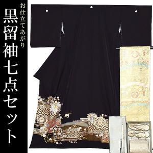 お仕立て上がり 黒留袖セット「華文」 紋入れ代、袋帯仕立て代込み 正絹着物 留袖 高級プレタ|kimonomachi