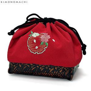 刺繍 籠巾着「赤色 雪輪に桜の刺繍」
