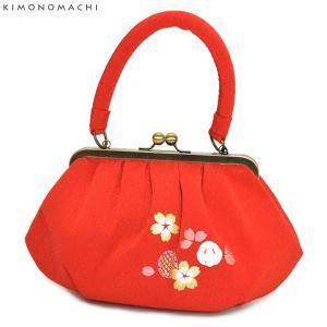 「赤色 うさぎ、桜の刺繍」刺繍バッグ