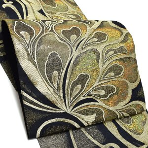 振袖 袋帯「ゴールド 蝶」 未仕立て 正絹帯 振袖帯 六通柄 kimonomachi