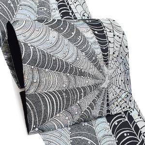振袖 袋帯「シルバー 蜘蛛の巣」 未仕立て 正絹帯 振袖帯 六通柄 kimonomachi