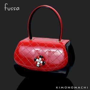 fussa バッグ単品「赤×黒ステッチ お花飾り」