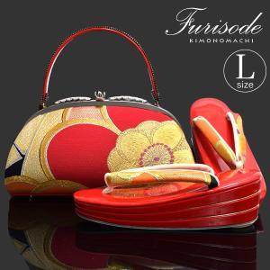 草履バッグセット 振袖用 赤「赤色 梅」Lサイズ