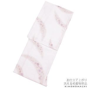 紬風 袷着物単品「薄桜色 吹き寄せ」Lサイズ プレタ 洗える...