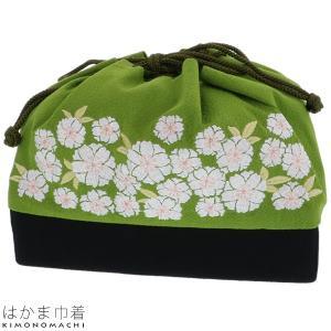 刺繍巾着「抹茶色 八重桜」袴巾