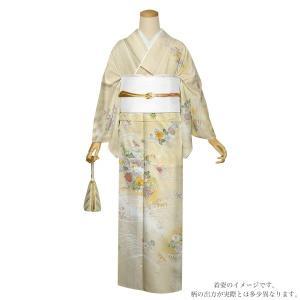仕立て上がり 訪問着単品「薄黄色 波に菊花、桜楓」パーティー 正絹着物 正絹訪問着 フォーマル 礼装 kimonomachi