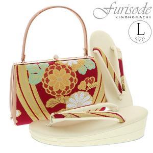 振袖 草履バッグセット「赤×ゴールド 菊花」Lサイズ