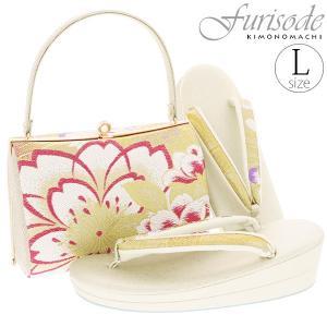 振袖 草履バッグセット「ゴールド 桜」Lサイズ