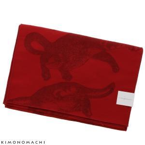 京都きもの町オリジナル 浴衣帯単品「レッド 猫」兵児帯 ゆか