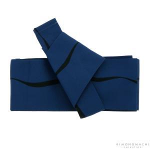 ワンタッチ 角帯「紺色 ゆらぎ縞」男性帯