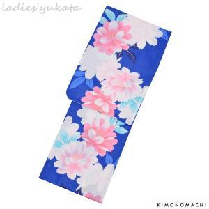 変わり織り 女性浴衣単品「ブルー 花」ボヌールセゾン