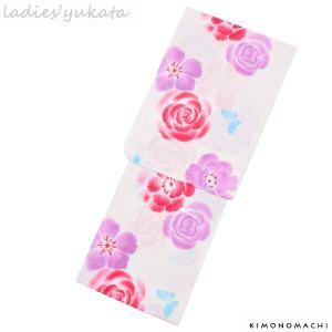 変わり織り 女性浴衣単品「生成り 薔薇とお花、蝶」ボヌールセ