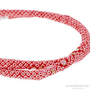 丸ぐけ 帯締め「赤色 桜の刺繍」