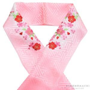 刺繍 半衿「ピンクぼかし 桜の刺繍」