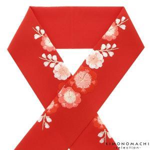 刺繍 半衿「朱赤色 八重梅」ラ