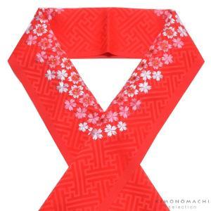 刺繍半衿「赤色 桜の刺繍」七五