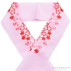 刺繍半衿「ピンク色 桜の刺繍」