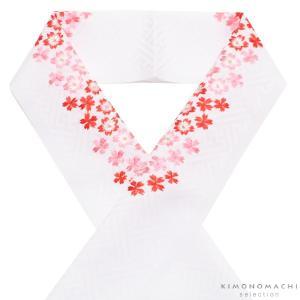 刺繍 半衿「白色 赤、ピンクの