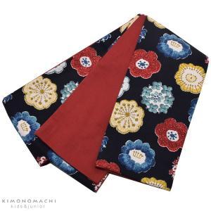こども 半幅帯「編み物風のお花」 木綿半幅帯 ジュニア、キッズ 子供帯 女の子帯
