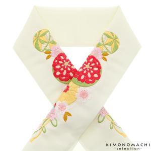 刺繍半衿「生成り 毬、花薬玉」
