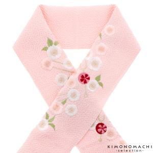 刺繍 半衿「ピンク色 かんざし、桜」