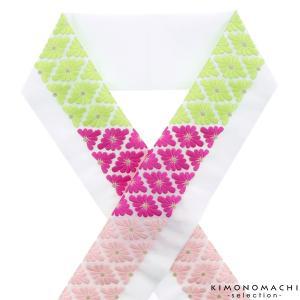刺繍 半衿「黄緑×赤紫×ピンク