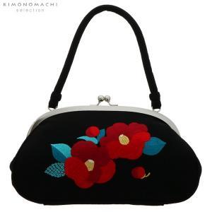 刺繍がま口 バッグ単品「黒色 椿」成人式の振袖に、卒業式に袴に 振袖バッグ 和装バッグ 着物バッグ|kimonomachi