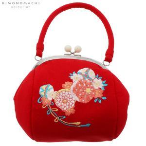 刺繍がま口 バッグ単品「赤色 毬」振袖