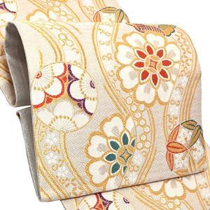 振袖 袋帯「白色 立涌に花文」お仕立て上がり 正絹帯