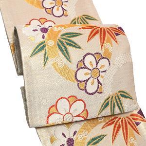 振袖 袋帯「白色 竹と梅」振袖に お仕立て上がり 礼装帯 振袖帯 kimonomachi