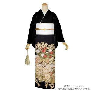 お仕立て上がり 黒留袖単品「流水に花車」 紋入れ代込み 正絹着物 留袖|kimonomachi
