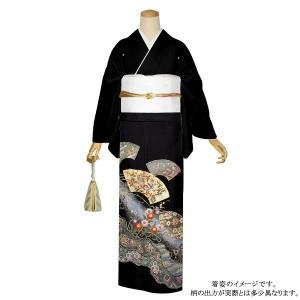 お仕立て上がり 黒留袖単品「道長取り 扇面に吉祥模様」 紋入れ代込み 正絹着物 留袖|kimonomachi