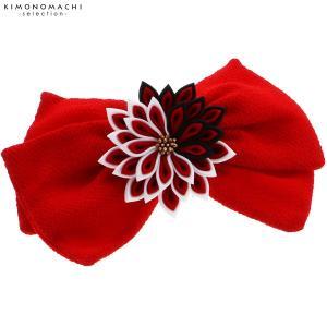 リボン髪飾り単品「赤色リボン、つまみのお花」袴髪飾り 成人式、前撮り、結婚式の振袖に リボンコーム 振袖髪飾り