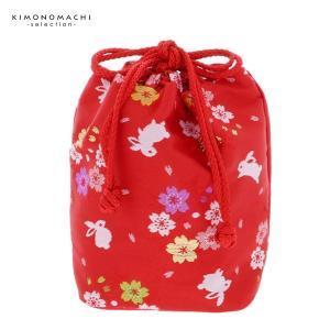 七五三 巾着単品「赤色 桜とう