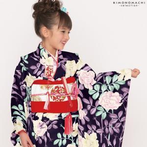 七五三 着物 7歳 「黒色 薔薇」四つ身 女の子の着物 Shikibu Classic 式部浪漫 7歳向け|kimonomachi
