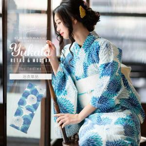 浴衣 レディース 単品「ブルー丸菊」綿 綿浴衣 お仕立て上がり浴衣 女性浴衣 8FS-H-31|kimonomachi