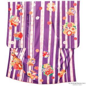 七五三 四つ身着物単品「紫色 縞に花の丸」女の子の着物 取り寄せ品 KAGURA 7歳向け KS2M|kimonomachi
