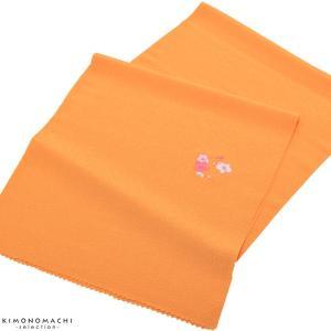七五三帯揚げ「オレンジ色 花の