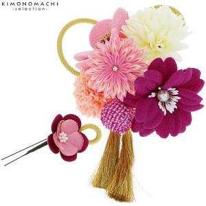 つまみ細工髪飾り2点セット「紫、ピンク色 お花と剣つまみのお花、絞り玉」髪飾り 成人式、結婚式 振袖髪飾り お花髪飾り 絞り玉飾り No.51021 ワイン