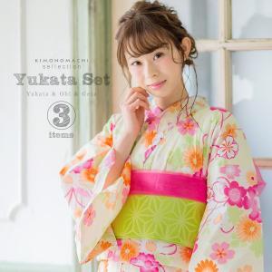 お仕立て上がりの女性浴衣、京都きもの町オリジナルの浴衣帯、下駄(F、L〜LLの2サイズからサイズをお...