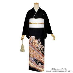 お仕立て上がり 黒留袖単品「更紗に尾長鳥」 紋入れ代込み 正絹着物 留袖
