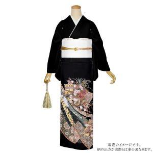 お仕立て上がり 黒留袖単品「蔓帯に花車」 紋入れ代込み 正絹着物 留袖