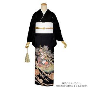 お仕立て上がり 黒留袖単品「花籠」 紋入れ代込み 正絹着物 留袖